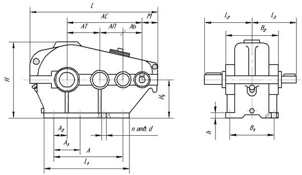 Габаритные и присоединительные размеры редуктора типа ЦТНД 315