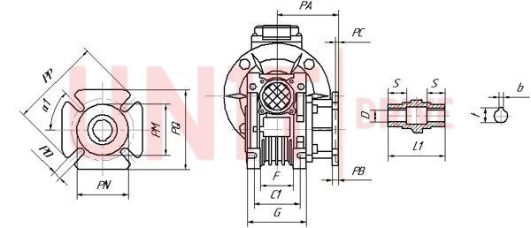 Размеры конических концов валов UD-RV (аналог NMRV)