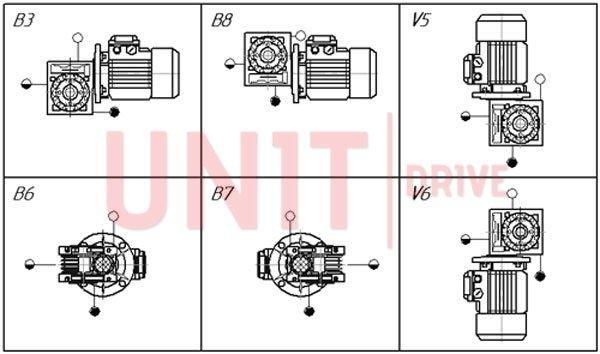Монтажные позиции червячного мотор-редуктора UD-RV (аналог NMRV)