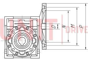 Присоединительные размеры входного фланца мотор редуктора червячного UD-RV (аналог NMRV)
