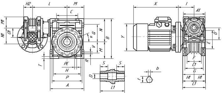 Габаритные и присоединительные размеры мотор-редуктора UD-DRV