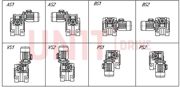 Монтажные позиции мотор-редуктора UD-DRV