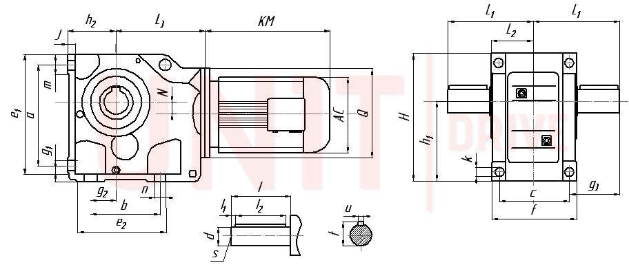 Габаритные и присоединительные размеры мотор-редуктора UD-K