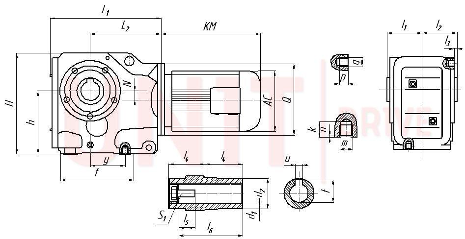 Габаритные и присоединительные размеры редукторов серии UD-K