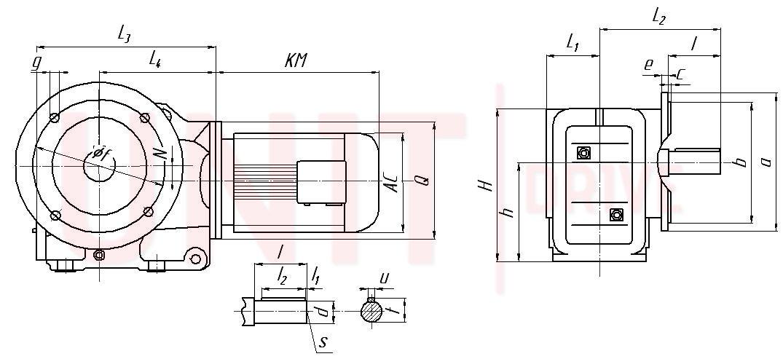Габаритные и присоединительные размеры UD-KF