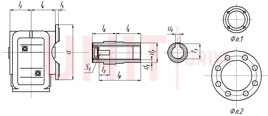Габаритные и присоединительные размеры UD-KAF