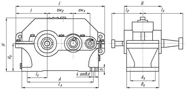 Присоединительные и габаритные размеры редуктора 1Ц2У 100
