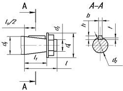 Размеры входных и выходных концов валов редукторов 1Ц2У-100