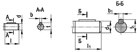 Размеры концов валов редуктора ЦТНД 315