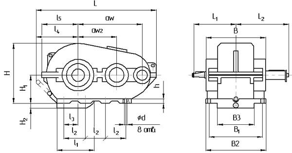Габаритными и присоединительными размеры Редуктора РК-500 от ООО ТПО Максимум