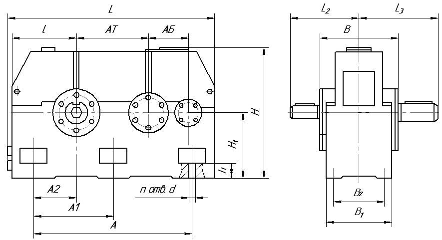 Габаритные и присоединительные размеры редукторов 1Ц2Н-450 (Ц2Н 450)