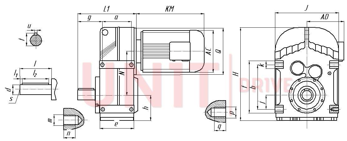 Габаритные и присоединительные размеры мотор-редуктора UD-F