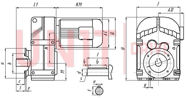 Габаритные и присоединительные размеры редуктора UD-FF