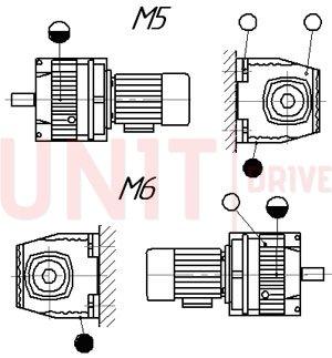 Монтажные позиции цилиндрического соосного мотор-редуктора серии UD-HR