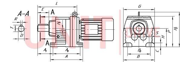 Габаритные и присоединительные размеры редуктора UD-HR